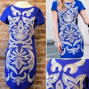 Quinn Blue Ebroidered Owl Dress